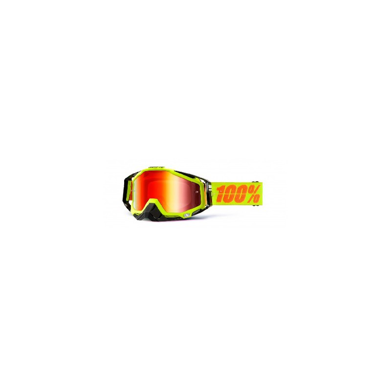 Lunettes masque cross 100 racecraft goggle attack jaune for Ecran en miroir