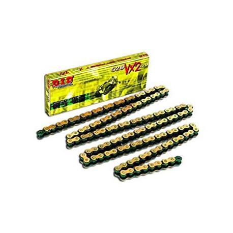 Chaine de transmission DID 520 VX3 X-RING Or / Noir et attache type semi-pressée