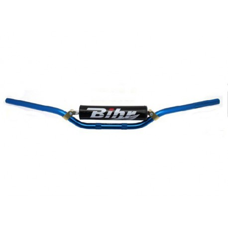 GUIDON MX ONE BIHR ALU 22.2mm ET MOUSSE YZ YZF WR WRF 125 250 450 BLEU