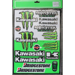 PLANCHE 40cm X 29cm STICKERS AUTOCOLLANT KAWASAKI MONSTER