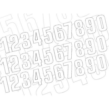 NUMERO DE COURSE BLANC BLACKBIRD - JEU DE 3 NUMEROS 13X7cm