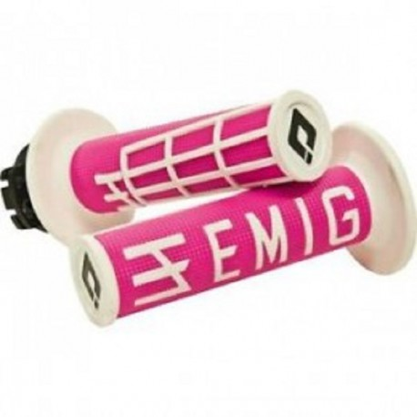 POIGNEES LOCK-ON-ODI EMIG V2 ROSE BLANC SEMI-GAUFRE 2 TEMPS